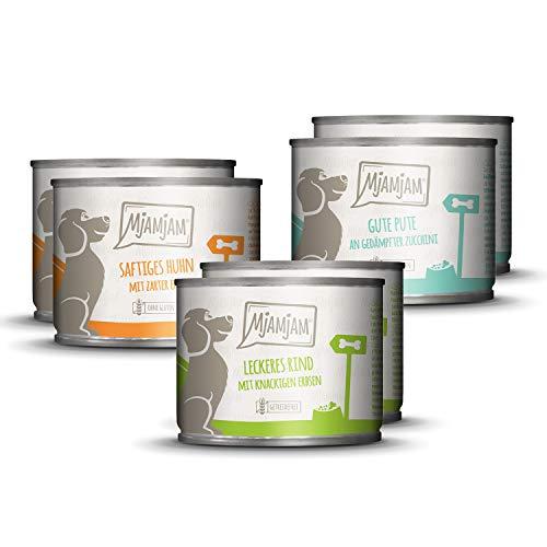 MjAMjAM - Premium Nassfutter für Hunde - Mixpaket I - Huhn & Ente, Rind, Pute, 6 Stück, 6er Pack (6 x 200 g), getreidefrei mit extra viel Fleisch