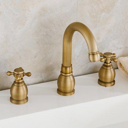 BLYC- Europeo antico rame tre fori rubinetto calda e acqua fredda valvola miscelatrice
