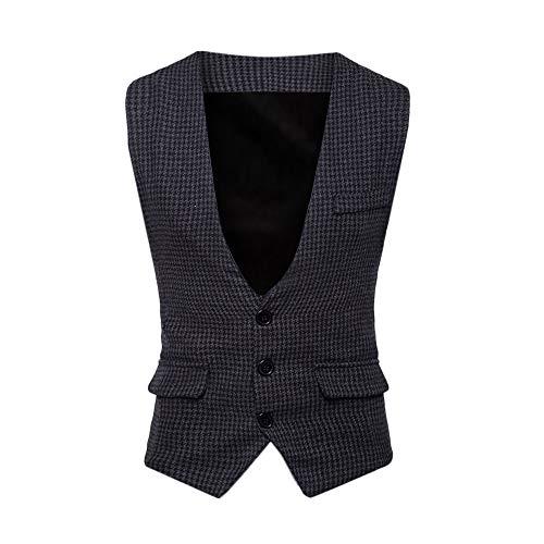Sannysis Anzugweste Herren Herbst Winter Formale Houndstooth Tuxedo Anzug Weste Slim Fit Elegant Weste Jacke Top Coat