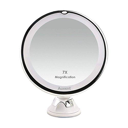 Auxmir Kosmetikspiegel LED Beleuchtet mit 7X Vergrößerung und Saugnapf, 360° Schwenkbar,...
