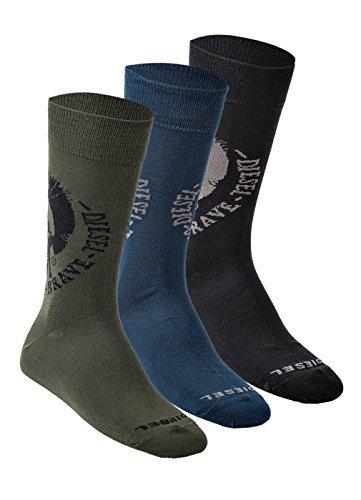 DIESEL Herren 3 PAAR Socken, Mehrfarbig (Schwarz, Blau, Oliv), SKM RAY MOHAWK (39-42 (Conveyance))