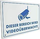 SCHWAIGER -5590- Warnschild Videoüberwachung aus Aluminium klein/Dieser Bereich Wird Videoüberwacht Schild/Einbruchschutz / witterungsbeständig