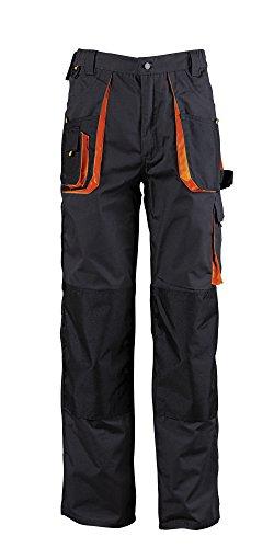 Herren Arbeitshose mit Kniepolstertaschen, Bundhose schwarz orange,Qualität (L) (Herren Strauß Bein)