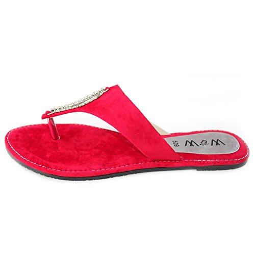 W & W Frauen Damen Abend auf Casual Slip flach Komfort Sandale Schuhe Größe Blau, Rot (san509) Rot
