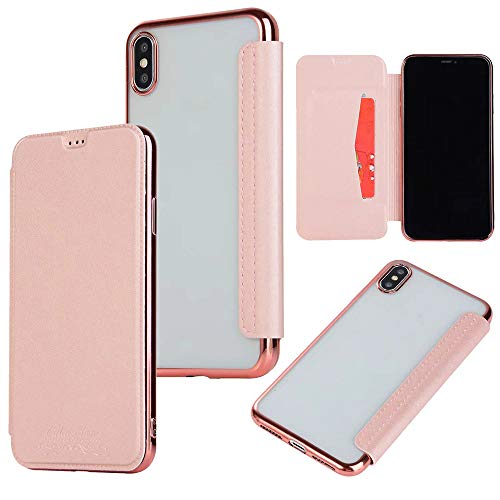QINPIN Shock Absorption Bumper Glitter Leder Flip Case Schutzhülle für iPhone XS 5.8 Rose Gold