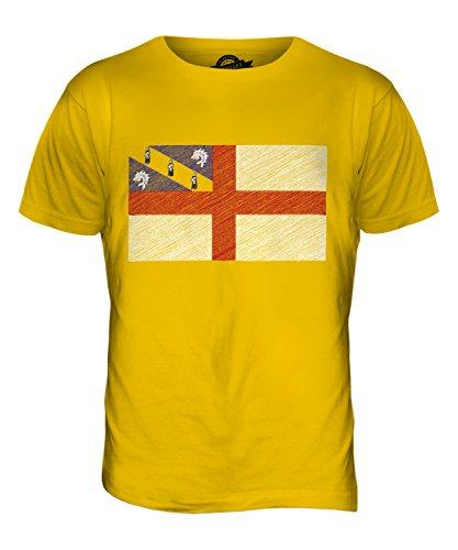 CandyMix Herm Insel Kritzelte Flagge Herren T Shirt Dunkelgelb