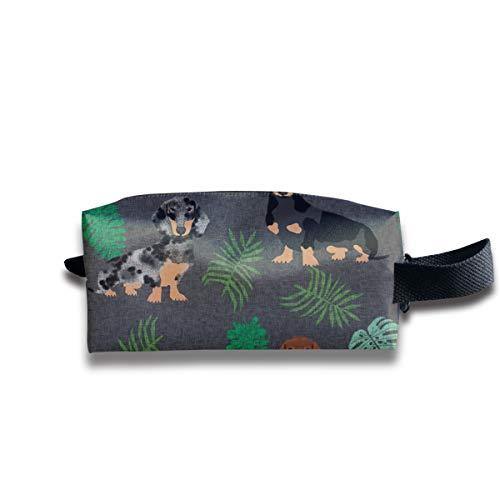 tera Blätter Hunderasse Stoff Dark_148 Tragbare Reise Make-Up Kosmetiktaschen Organizer Multifunktions Fall Taschen für Unisex ()