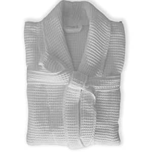 homescsapes unisex waffelstruktur kimono morgenmantel gr e l weiss saunamantel f r sie und ihn. Black Bedroom Furniture Sets. Home Design Ideas