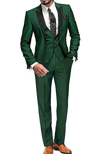 GEORGE BRIDE Herren Anzug 5-Teilig Anzug Sakko,Weste,Anzug Hose,Krawatte,Tasche Platz 002,Grün,XXXXXXL