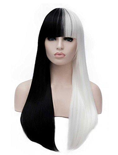 Tsnomore Mode lange Gerade Halb weiße halbe schwarze volle Knall-Frauen Cosplay synthetische Perücke (Kostüm Perücken Schwarz Und Weiß)
