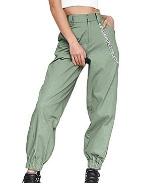 Guiran Mujer Cintura Alta Chino Pantalones Anchos Palazzo Pantalon Baggy Pantalones Harem Jogger Verde del ejército...