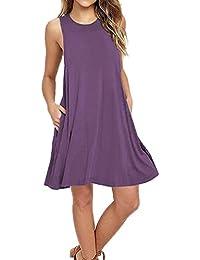 Vestido de Bolsillos de Mujer,❤ Bolsillos Casuales de Las Mujeres O Cuello sin