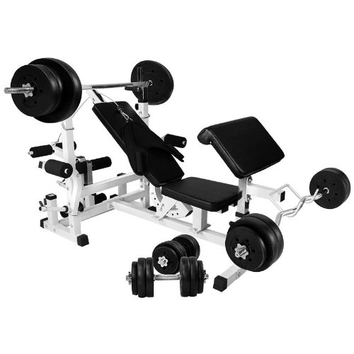 41qwN8Gl6YL. SS500  - Gorilla Sports Universal Workstation with 100KG Vinyl Weight Set Colour White
