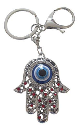 Schlüsselanhänger, Hand der Fatima, Fatima und Auge, Stahl Silber und Strass rot. ()