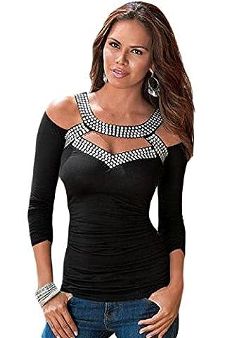 Neuf femmes Noir froid épaule avec strass Argenté clouté Top T-shirt Club Wear TOPS Tenue décontractée Vêtements Taille M UK 10–12–EU 38–40