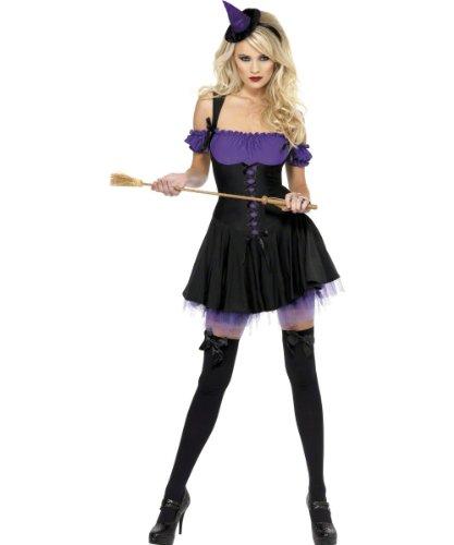 se Hexe Kostüm Violett mit Kleid Unterrockund Hut auf Haarreifen, Large ()
