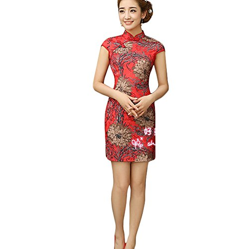 Cheongsam Kleid Muster (Frauen Chinesische Blumen-Muster Cheongsam Qipao One Piece Kleid (Rot, Large))