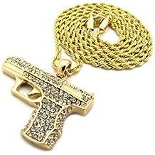 """Los hombres de la pistola Chapado en oro Micro colgante hierro cuerda cadena 3mm 30""""Hip Hop Bling collar"""