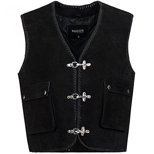 beiderseitig DREI verstellbare Klettverschl/üsse Rei/ßverschluss vorne MDM Tan//Textil Bikerweste in schwarz//wei/ß