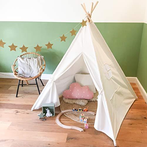 [TIPI ZELT] Indianerzelt für Kinder - für Kinderzimmer - Wigwam 140x120x120 cm - Tipi tent Baumwollsegeltuch - Für in und um ihr haus - mit 4 Holzstangen und Fenster - GadgetQounts (Weiß)