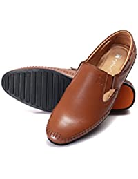 Cythos Stylish Fine Look Outdoor Leather Sandals and Floaters for Mens, Boys and Gent's (Tan)