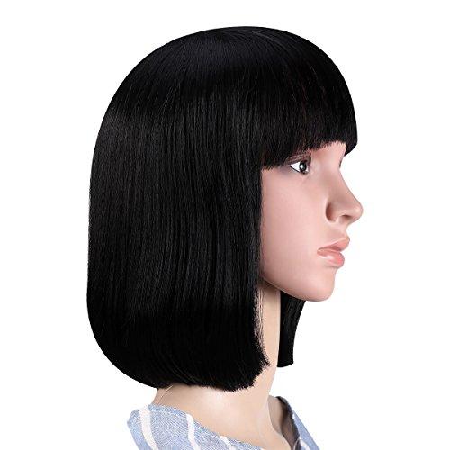 """ETEREAUTY Perücke Bob 12"""" perücke schwarz für Frauen natürlich Haare(mit Perücke Kappe und  Kamm) Test"""
