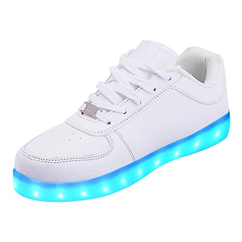 LeKuni Zapatillas con Luces LED 7 Colores USB Carga Luz Luminosas Flash Zapatos de Deporte para(35,White)