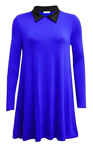 Fashion 4 Less - Robe - Swing - Manches Longues - Femme bleu roi