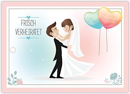 Ballonflugkarten zur HOCHZEIT - 50 Stück - gelocht, schöne leichte Ballonkarten mit Brautpaar-Motiv für einen weiten Flug im Postkarten-Format für Luftballons und Herzluftballons