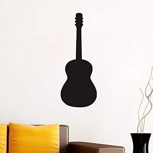 Schwarz Silhouette Einfache Design Musikinstrument Gitarre Kunst Wandaufkleber Wohnzimmer Sofa Hintergrund DIY Wohnkultur Dekorationen 42X110CM