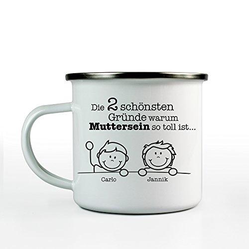 Tassenwerk Emaille Tasse mit Aufdruck – Gute Gründe Muttersein – Personalisiert mit [Namen] der Kinder – Weiß – Retro Kaffeebecher – Outdoor – Geschenkidee für Mama zum Muttertag – Füllmenge: 300 ml