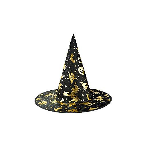 GOKOMO Der Schwarze Hexenhut der Erwachsenen Frauen für Halloween-Kostüm-Zusatz-Kappe B (Chucky Kostüm Für Hunde)