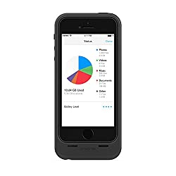 Mophie Space Pack Battery Case for Apple iPhone 5/5S with 1700mAh Extra Battery Life and 16GB Built-in Storage - Black/Matte Black