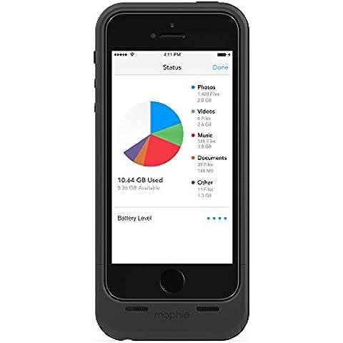 Mophie Space Pack - Carcasa con batería y almacenamiento adicional integrado de 16 GB para iPhone 5/5S (certificado MFi), negro
