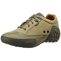 Woodland Men's Khaki Leather Sneakers - 7 UK/India (41 EU)