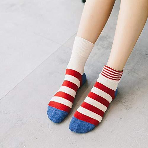 Damen-candy-gestreifte Socken (WGHUA 5 Paare/Los Herbst Und Winter Candy Farbe Damen Rohr Socken Nadelstreifen Baumwolle Manschetten Gestreifte Hohe Socken 35-40)