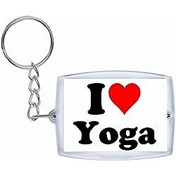 """EXCLUSIVO: Llavero """"I Love Yoga"""" en Blanco, una gran idea para un regalo para su pareja, familiares y muchos más! - socios remolques, encantos encantos mochila, bolso, encantos del amor, te, amigos, amantes del amor, accesorio, Amo, Made in Germany."""
