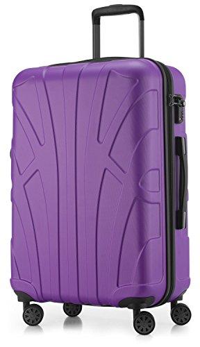SUITLINE - Hartschalen-Koffer Koffer Trolley Rollkoffer Reisekoffer, TSA, 66 cm, 68 Liter, Lila (Lila Koffer)