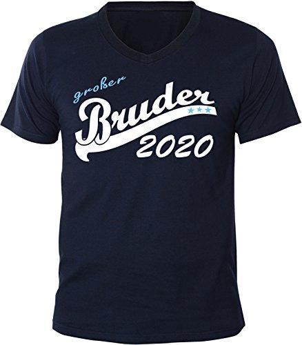 Mister Merchandise Herren Men V-Ausschnitt T-Shirt Großer Bruder 2020 Tee Shirt Neck bedruckt Navy
