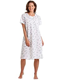 Ladies Lady Olga Polycotton Short or Long Sleeve Floral Nightie, Pyjamas, Wrap Pink or Blue Size 10-32