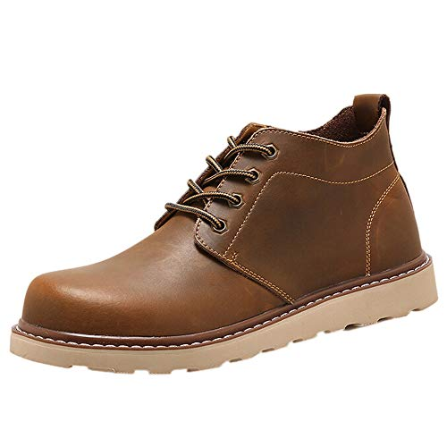 Fantaisiez Bottes Homme à Lecets Basses Bottines Cuir Vintage Botte Hommes Plate Chaussures Travaille Tête Ronde Boots Décontractée Automne Hiver