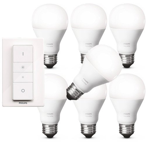 Philips Hue WHITE LED 8,5W E27 Wireless Dimming Kit inkl. Fernbedienung + 6x Erweiterung = 7 Leuchtmittel, app-gesteuert, dimmbar, warmweiß 2700K (005-lampe-kits)