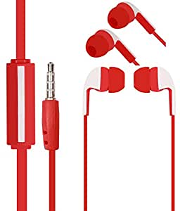 Red Stylabs 3.5mm In Ear bud Stereo Earphones Mini Size HeadSet Headphone Handsfree with Mic For Micromax Bolt AD4500