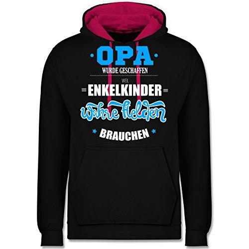 Opa - Opa wurde geschaffen - Kontrast Hoodie Schwarz/Fuchsia