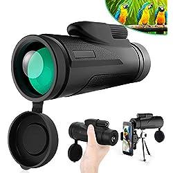 Télescope Monoculaire, Tencoz 12X50 HD Monoculaire Puissant avec Adaptateur pour Smartphone Étanche télescope monoculaire pour Regarder Moon Bird Faune Camping Voyager