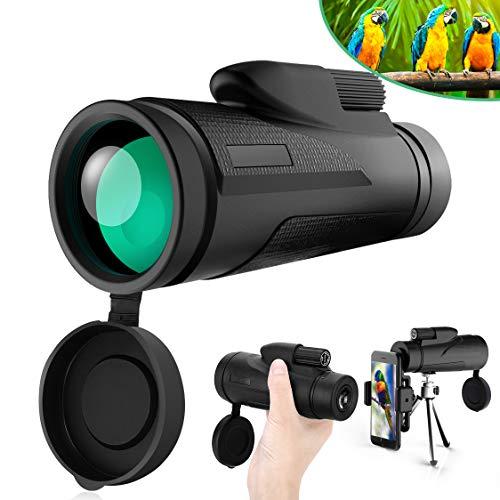 Telescopio Monocular Tencoz 12 x 50 HD Telescopio Monocular Impermeable Telescopio Monocular para Movil con trípode y Adaptador para Smartphone Monoculares para Observación de Las Aves, Caza, Camping