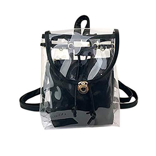 Transparente Tasche Damen Mädchen, VECOLE Backpack Strand Gelee Transparente Rucksack Leicht Schultasche Campus Studententasche Reiserucksack für Wandern, Arbeit, täglich(Schwarz)
