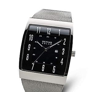 BERING Herren Analog Solar Uhr mit Milanaise Armband 16433-002