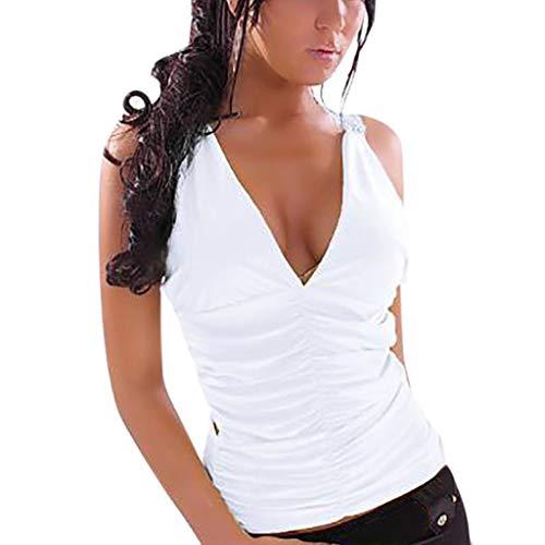 Blusas sin Manga Cuello en V Cremallera Camisetas sin Manga Mujer Camiseta  Tirantes Largas Top Blusa dc30a523414b8