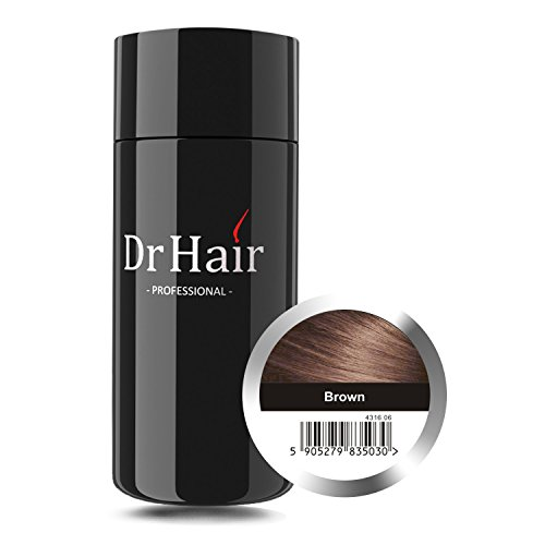 Dr Hair Coprente per Nascondere la Perdita dei Capelli, i Capelli Sottili e Radi, le Zone Senza Capelli con Fibre alla Cheratina Colorate e Naturali - Per Donne e Uomini, 30g Marrone